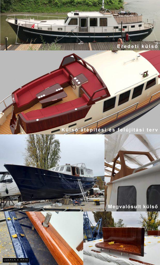 Hajó felújítás előtte-utána, külső átépítés, 3d hajó modell